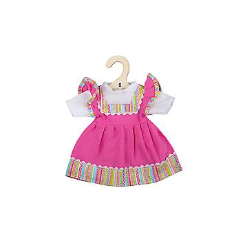 Bigjigs Toys Pink dress with striped trim (for Size Small Doll) - FOR BIGJIGS TOYS DOLLS ONLY