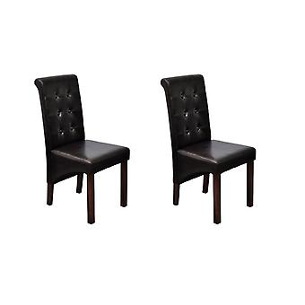 vidaXL Dining chairs 2 pcs. brown faux leather