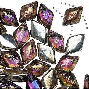 Czech Glass GemDuo, 2-Hole Diamond Shaped Beads 8x5mm, 8 Grams, Backlit Purple Haze Gold