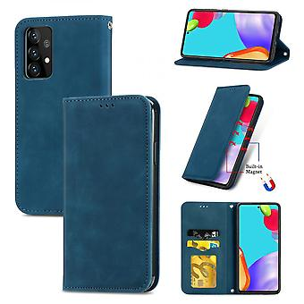 Case For Samsung Galaxy A52 5g/4g Magnetic Closure Leather Wallet Cover Housse Etui Shockproof - Blue
