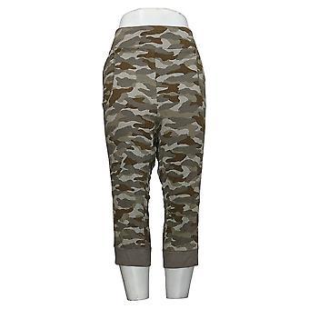 LOGO by Lori Goldstein Women's Plus Pants Camo Capri Green A264592