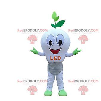 Mascotte REDBROKOLY.COM d'ampoule LED blanche, déguisement écologique