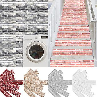 7pcs Brick Printed Stair Riser Staircase Stickers Wall Tiles Decor Self-adhesive