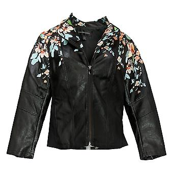 Colleen Lopez Women's Faux Leather Embroidered Jacket Black 638980