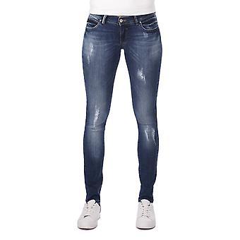 blå hvit lav midje revet detaljert kvinners jean bukser