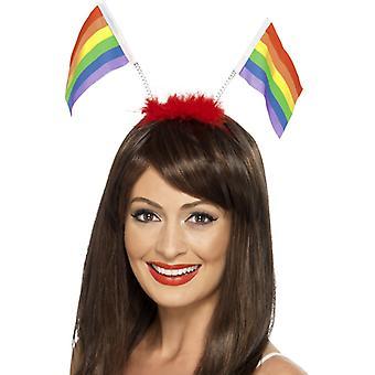 Rainbow Boppers Regenbogen Fahnen auf Haarreif CSD