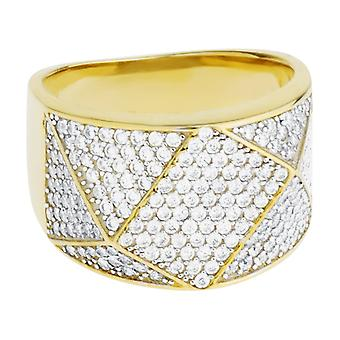 Premium bling - Sterling 925 Silver ring - ANGULAR gold