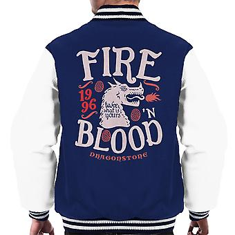 Fire And Blood Dragonstone Targaryen Game Of Thrones Men's Varsity Jacket