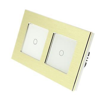 Я LumoS золото матовый алюминий Двойная рамка 2 банды 2 способ дистанционного WIFI / 4G сенсорный светодиодный свет переключатель белой вставкой