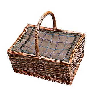 Large Triple Weave Butchers Wicker Picnic Basket with Fitted Cooler