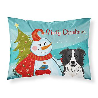 Snowman with Border Collie Fabric Standard Pillowcase