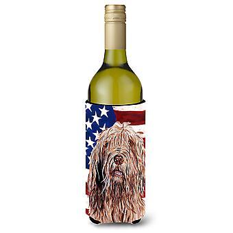Otterhound with American Flag USA Wine Bottle Beverage Insulator Hugger