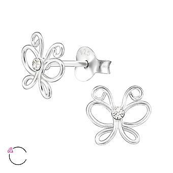Butterfly Crystal alkaen Swarovski® - 925 sterlinghopea korva Studs - W32775x