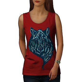 Wolf Beast Calm Animal Women RedTank Top | Wellcoda