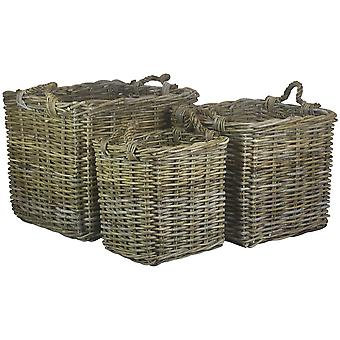 Set of 3 Square Grey Rattan Log Baskets