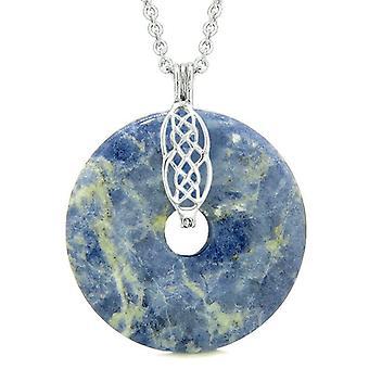Große keltische Schild Knoten Schutz magische Kräfte Amulett Sodalith Glück Donut Anhänger Halskette