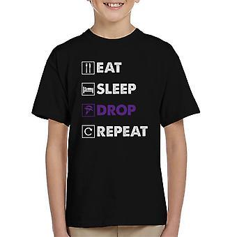 Essen Sie Schlaf Tropfen wiederholen Fortnite lila Logo Kinder T-Shirt