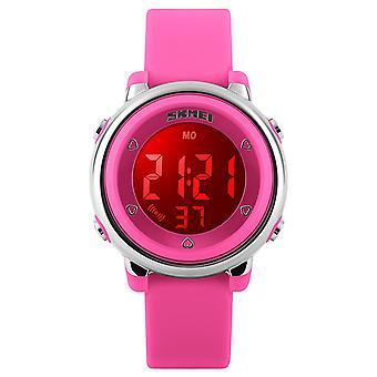 SKMEI tyttöjen vaaleanpunainen Digitaalikello 50m aktiivikaiutin vedenpitävä sekuntikello hälytys Ages 5 + DG1100