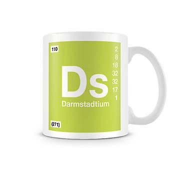 Scientific Printed Mug Featuring Element Symbol 110 Ds - Darmstadtium