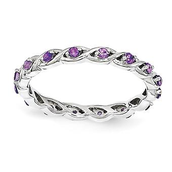 2.5mm 925 Sterling Silver Polished Prong set Rhodium plaqué Empilable Expressions Amethyst Ring Jewelry Gifts for Women