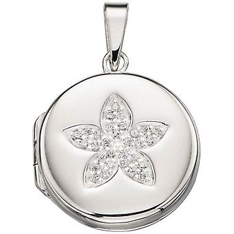 Anfängen ebnen Flower Medaillon Anhänger - Silber