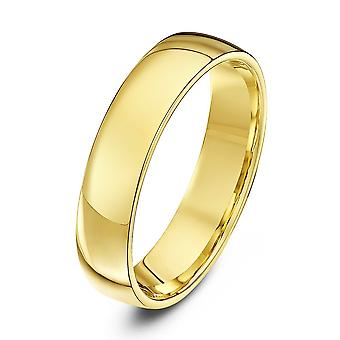 Star Wedding Rings 18ct Yellow Gold Light Court Shape 5mm Wedding Ring