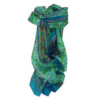 Mulberry soie longue écharpe traditionnelle Sonja Aquamarine de Pashmina & soie