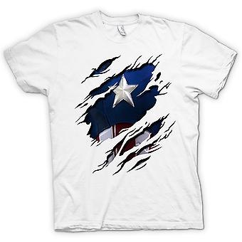 Herr T-shirt - Retro Captain America superhjälten slet Design