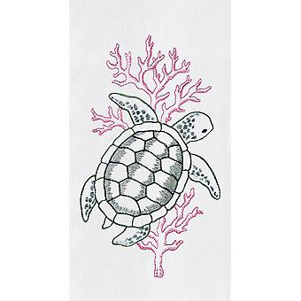Sea Turtle Swimming in Coral Flour Sack Kitchen Towel 27 Inches Embroidered