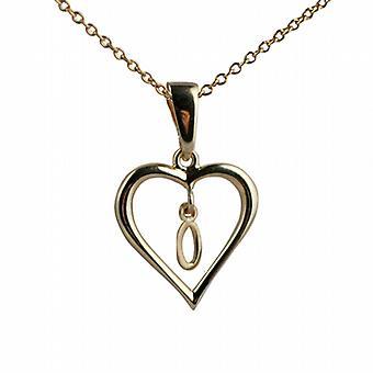 9ct goud 18x18mm eerste O in een hart hanger met een kabel ketting 20 inch