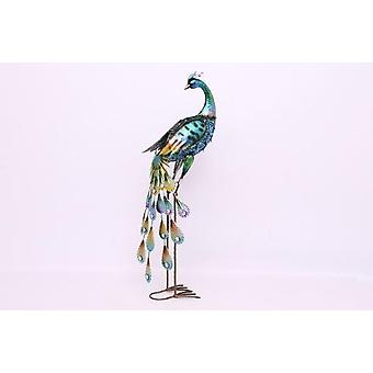 89Cm Metal Peacock Garden Ornament With Solar Panel Led Lights
