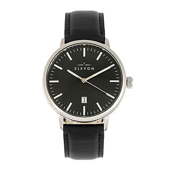 Elevon Vin Leather-Band Watch w/Date - Silver/Black