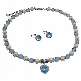 Swarovski-Creme Perlen Aquamarin Kristalle Herz Anhänger Collier-Set