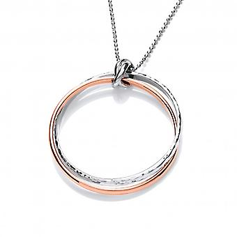 Cavendish French Sterling Silver and Copper Double Ring Pendant with Silver Chain
