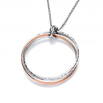Cavendish französischen Sterlingsilber und Kupfer Doppel-Ring-Anhänger mit Silber Kette