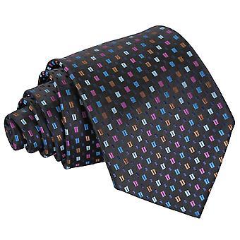 Schwarz mit blau und rosa böhmischen geometrische klassische Krawatte