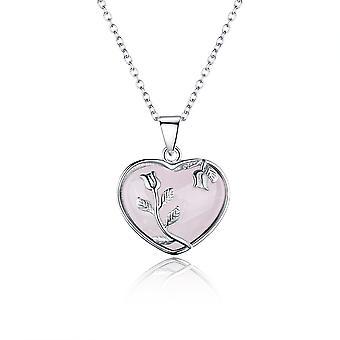 925 Sterling sølv Pink Opal hjerte vedhæng halskæde med sølv roser detaljer