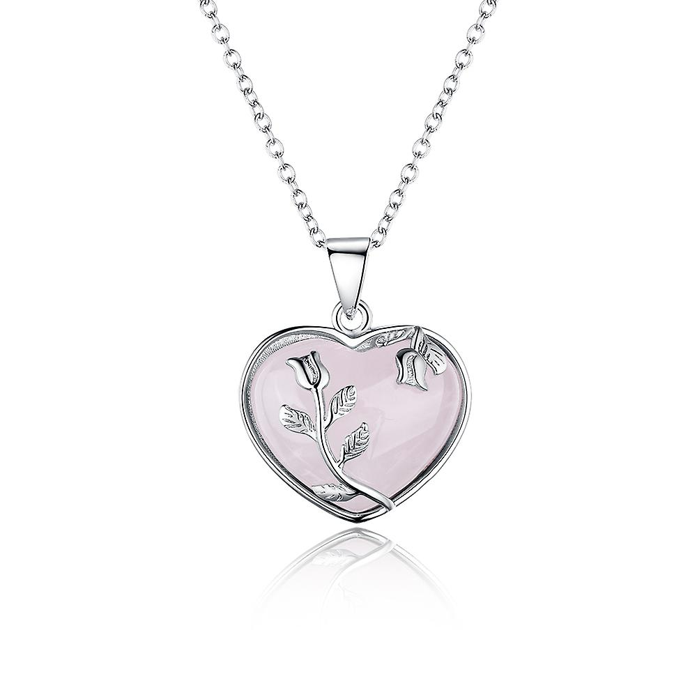 925 Sterling Silver Pink Opal Heart Pendant Necklace With Silver Roses Details