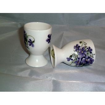 English Bone China set of 4 eggcups in Wild Violets design