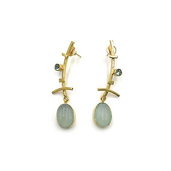 Handmade Long Just Enough Drop Gemstone Earrings, Chalcedony Gem