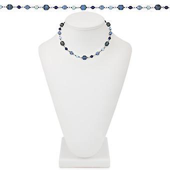 Ewige Sammlung Sarasota blau Multi Preciosa Crystal 18 Zoll Silber Ton Perlenkette