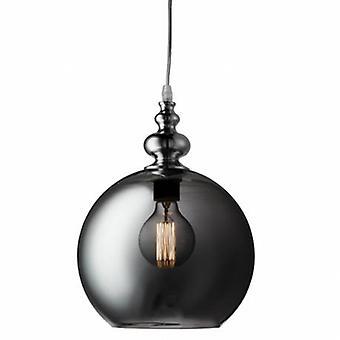 1 Light Globe Dome Soffitto Ciondolo Cromo, Fumo, Vetro