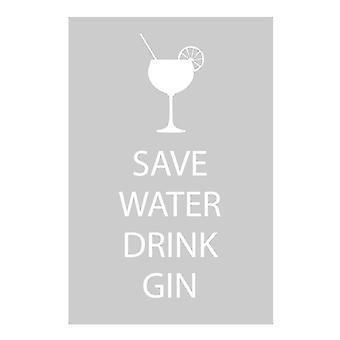 Save Water Drink Gin Grey Tea Towel