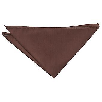 Chocolate marrón plain Shantung Pocket Square
