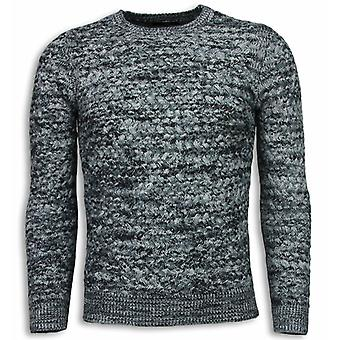 Knitted Sweater - Color Sweater Long Sleeve - Grey