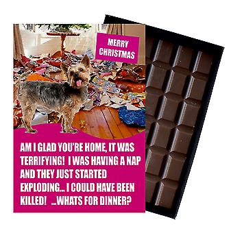 Yorkshire Terrier Funny Christmas Gift for Dog Lover Boxed Chocolate Greeting Card Xmas Present