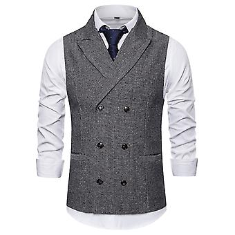 Allthemen män ' s dubbelknäppt topp lapel business casual Suit Vest