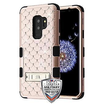 MYBAT Rose Gold/Black FullStar TUFF Hybrid Case(w/ Stand) for Galaxy S9 Plus