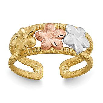 14k Two Tone Satin Open back Sparkle Cut Gold and Rhodium Plumeria Toe Ring Jewelry Gifts for Women