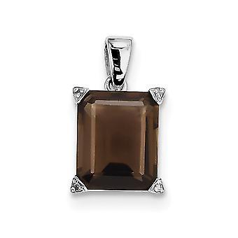 925 Sterling Silber poliert open zurück Rhodium vergoldet Rhodium Rauchquarz und Diamant Anhänger Halskette Schmuck Geschenke f